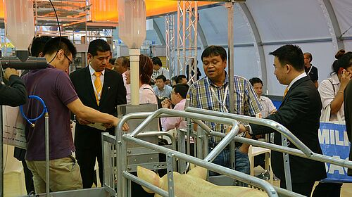 Sow feeding systems: Farrowing pen with EasySlider