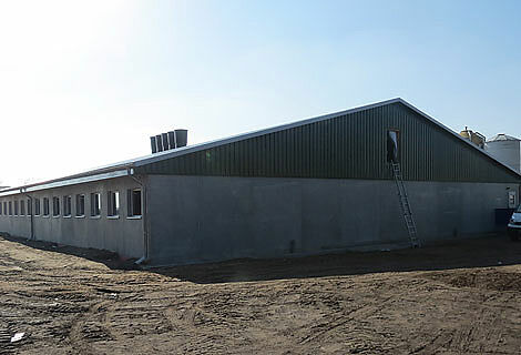 New house for piglet rearing with modern pig equipment and dry feeding as well as ventilation systems