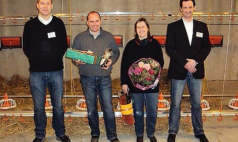 Congratulating the Löhr's on their new poultry house: Big Dutchman's Guido Kreuznacht and Werner Meckelnborg