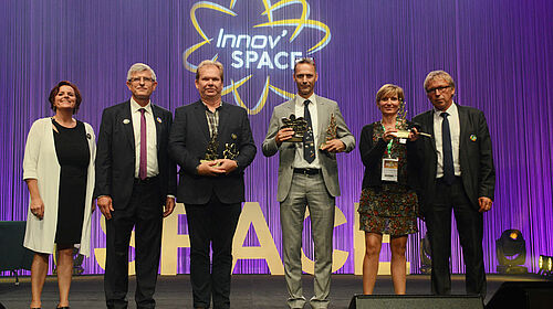 Awards ceremony: the three winners and SPACE officials