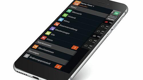 View of a smartphone with BigFarmNet app