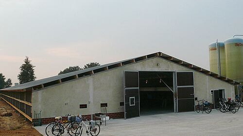 New building for poultry growing: front view