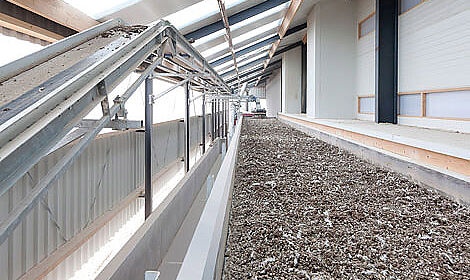 Poultry manure layer heights of 20 cm are possible. Poultry house climate benefits from this system.