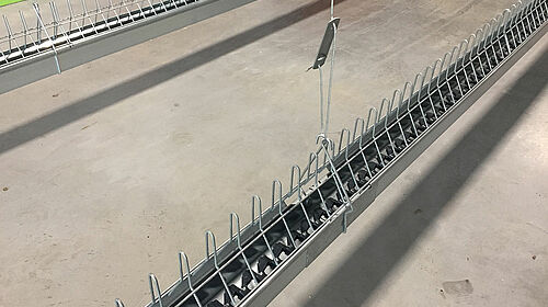 Broiler breeder management: chain feeding system at bird height