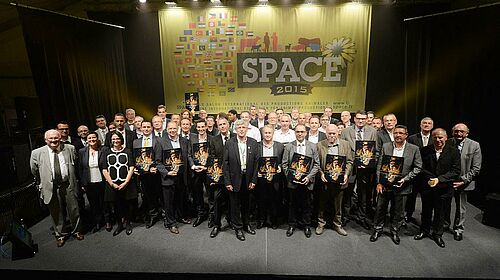 Group photo: company representatives with their special awards