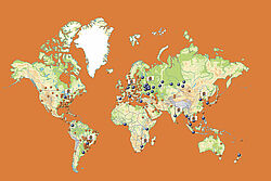 World map featuring Big Dutchman offices